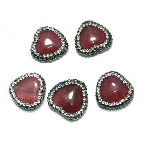 Gemstone CZ Beads 5 Pcs 18x18mm Pink
