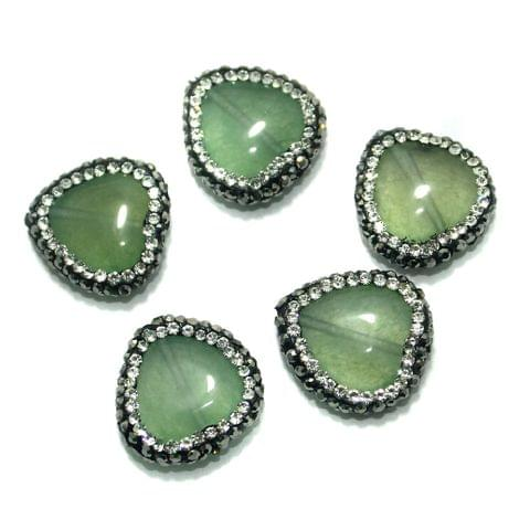 Gemstone CZ Beads 5 Pcs 18x18mm Olive