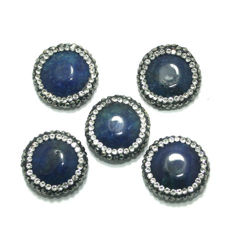 Gemstone CZ Beads 5 Pcs 19x19mm Blue