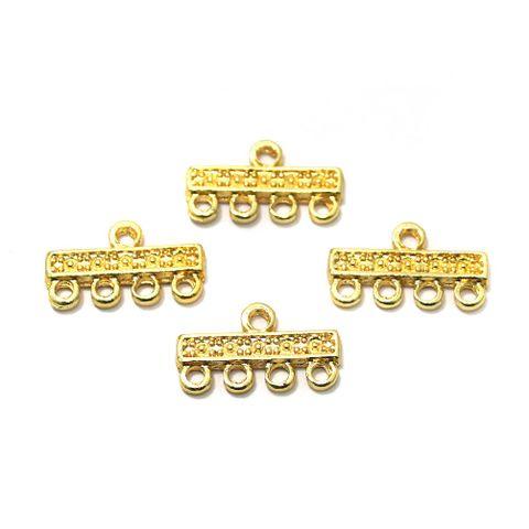German Silver Golden 4 Strands Connectors 20 Pcs 20x12mm