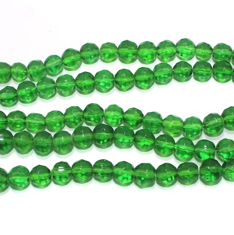 Glass Faceted Football Beads Green 8mm 1 Strings