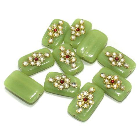 Kundan Beads Rectangle Parrot Green 10 Pcs 24x14mm
