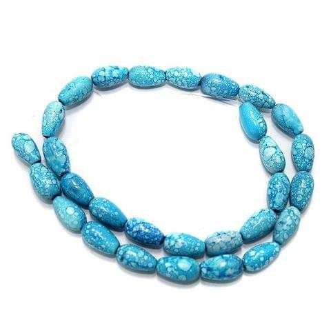 5 Strings Marble Drop Beads Turquoise 13x8mm
