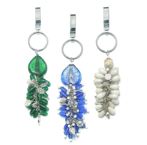 3 Pcs. Glass Beads Key Waist Chains Combo MultiColor