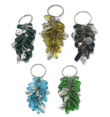 5 Pcs. Glass Beads Key Chains Combo MultiColor