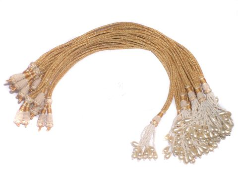 12 Pcs Zari Necklace Dori white 12 inch