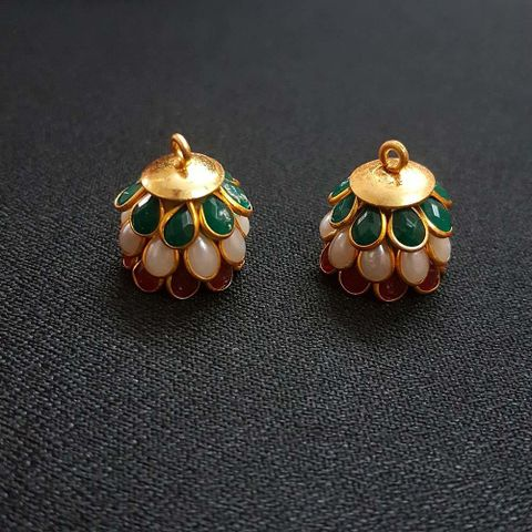 Multicolor, Pacchi Jhumka 16mm, 2 Pair