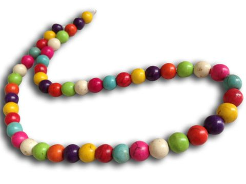 Jewellery Making Synthetic Beads 8mm Round Assorted Color Mix (Pack of 2 strings, 50 beads/string)