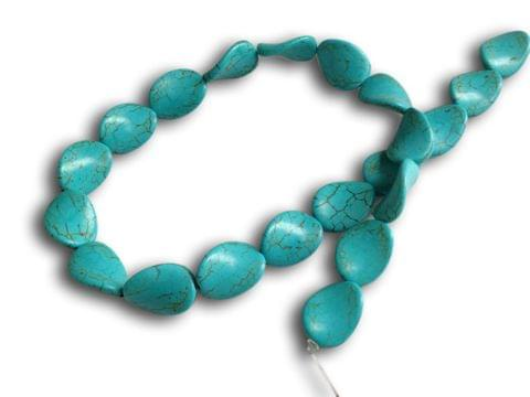 Jewellery Making Synthetic Beads 20x15x5mm Twisted Oval Turquoise Blue (Sold as 1 string, 21 beads/string)
