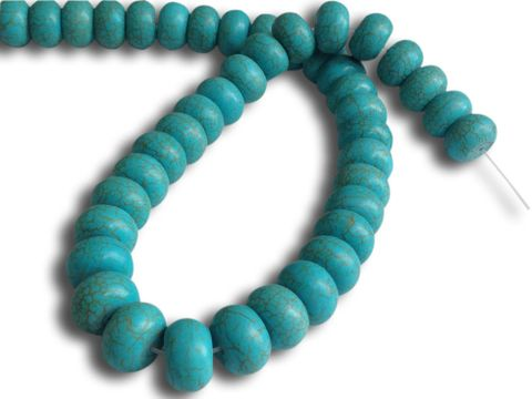Jewellery Making Synthetic Beads 14x8mm Disc Turquoise Blue (Sold as 1 string, 47-48 beads/string)