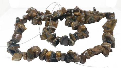 Tiger Eye Beads Multi-Size (Range 8-17mm) 34inch long Chips Brown (Sold as 1 string, 160 beads/string)