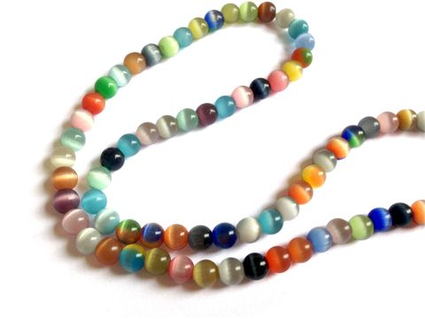 Cats Eye Beads 8mm Round Multi-Color (Sold as 1 string, 50 beads/string)
