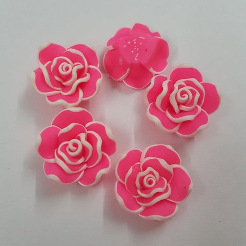 Pink, Rubber Flowers 20mm