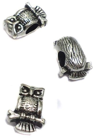 20 German Silver Owl Beads 11x6mm