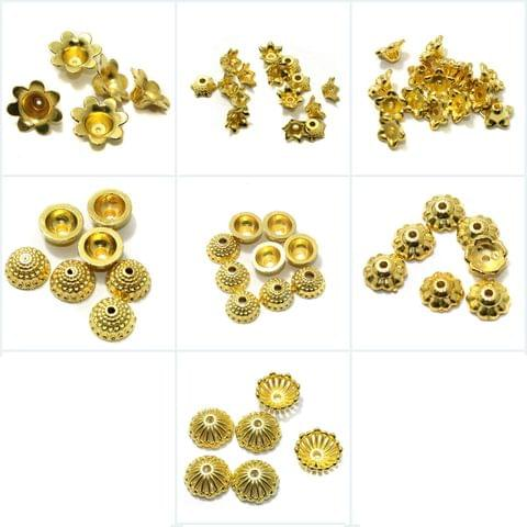 Silk Thread Jewellery Making Acrylic Bead Caps Golden Combo Pack Of 7 Sizes