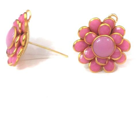 5 Pairs Double Layer PACCHI EARRING PINK 20X20 mm