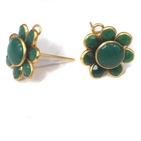 10 PAIRS PACCHI EARRING GREEN 14X14 MM