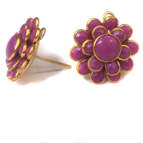 5 Pairs Double Layer PACCHI EARRING violet 20X20 mm
