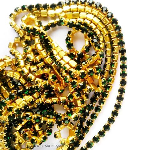 5 meter Dark Green Stone Chain For Silk Thread Jewellery Diya Rangoli Ganesh Decore 3 mm Rhinestones Closely Spaced