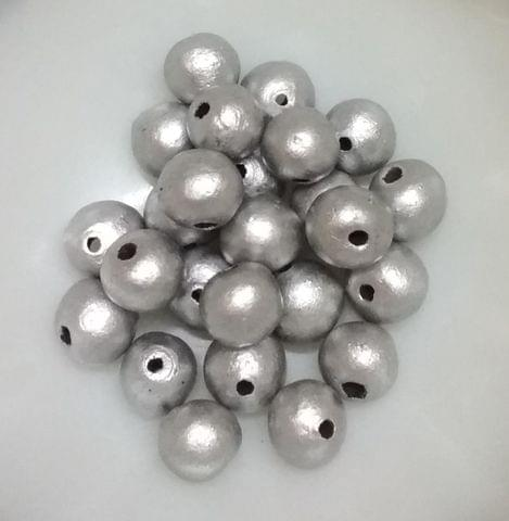 100 pcs Silver Terracotta 10mm round beads