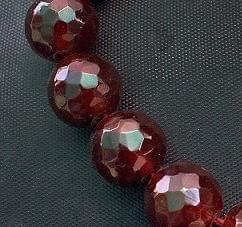 15+ Faceted Glass Round Beads Mehroon 16mm