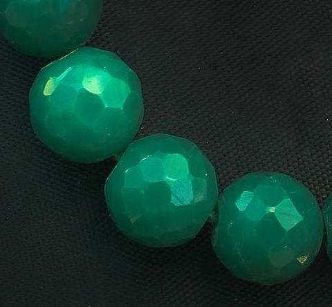 15+ Faceted Glass Round Beads Green 16mm
