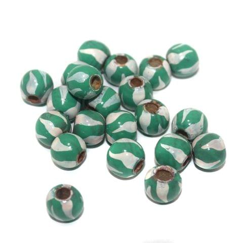 50 Wooden Hand Painted Round Beads Green and White 10mm