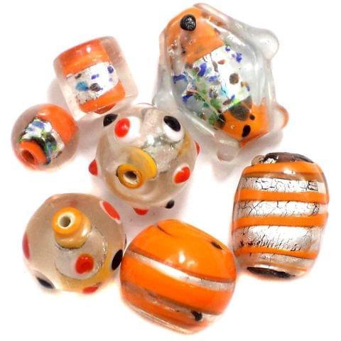 60+ Silver Foil Beads Orange 8-22mm