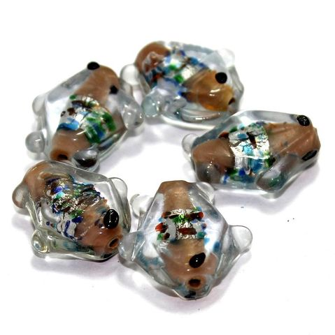 20 Silver Foil Fish Beads Brown 20mm