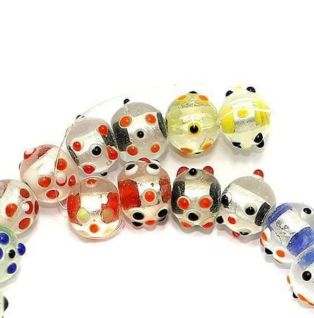 30+Silver Foil Bump Dotted Round Beads Assorted 12mm