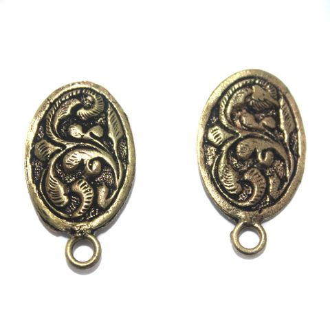 2 Pair German Silver Antique Golden Earring Component 20x15mm