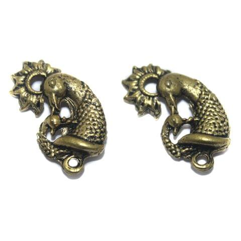 2 Pair German Silver Antique Peacock Golden Earring Component 20x14mm