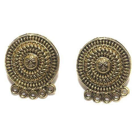 6 Pair German Silver Earring Component Golden 20mm
