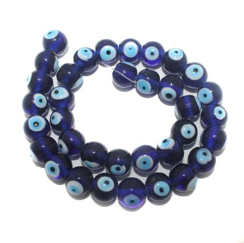 5 strings Glass Evil Eye Round Beads Blue 14mm