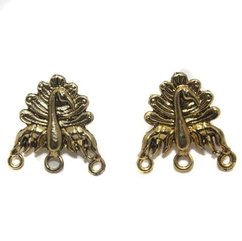 2 Pair German Silver Peacock Earring Component Golden 22mm
