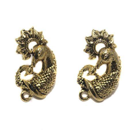 6 Pair German Silver Earring Component Golden 20x14mm
