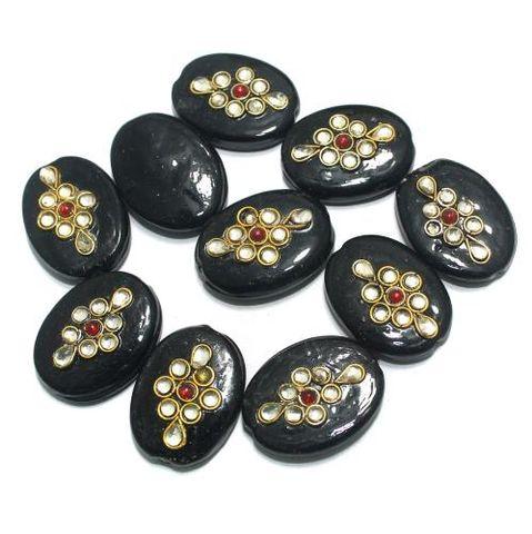 Kundan Beads Oval Black 10 Pcs 26x20mm