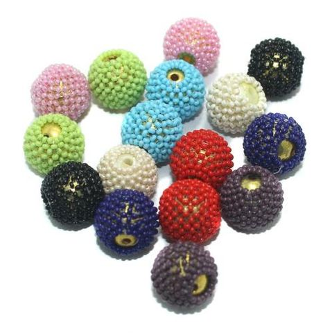 Multicolor Beaded Beads 15mm