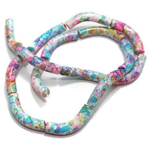 75 Pcs Glass Marble Twisty Tube Beads Multi 29x6mm