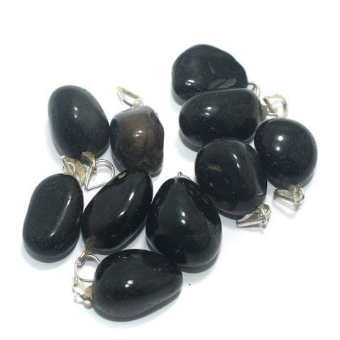 10 Pcs. Black Diy Stone Pendants 21x14 mm