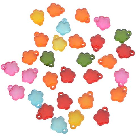 Multi-coloured Floral Translucent  Acrylic Beads
