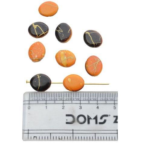 Dark Chocolate and Orange Printed Beads