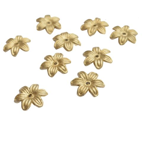 Designer Golden Floral Beads - 75 Pieces