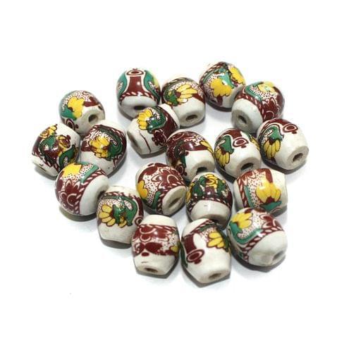 50 Pcs Ceramic Beads Assorted 16x13 mm