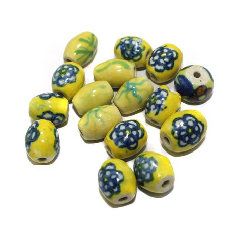 25 Pcs Ceramic Beads Assorted 17x15 mm