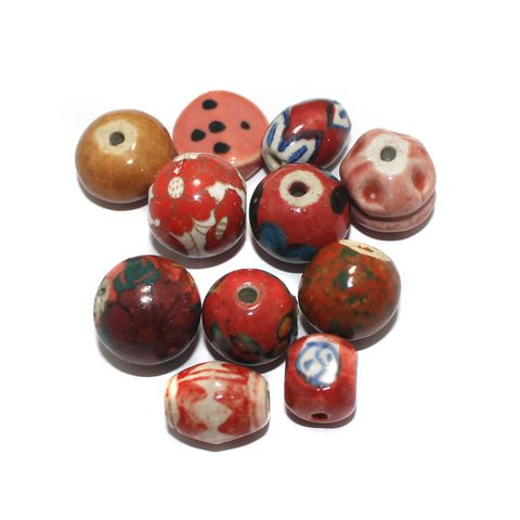 25 Pcs Ceramic Beads Assorted 21x8 mm