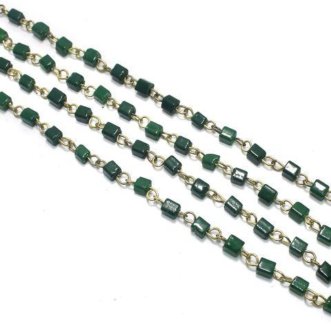 1 Mtr Designer Glass Beaded Chain Green 4x4mm