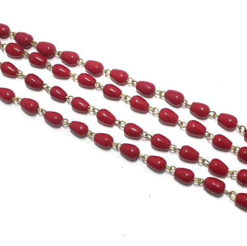 1 Mtr Designer Glass Beaded Chain Red 8x6mm
