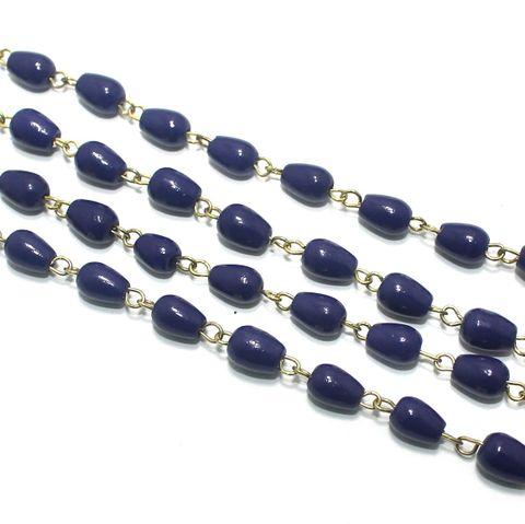 1 Mtr Designer Glass Beaded Chain Blue 8x6mm