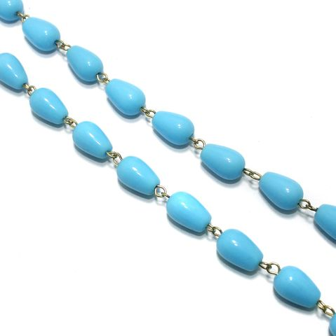 1 Mtr Designer Glass Beaded Chain Turquoise 12x8mm